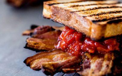 Bacon ketchup sandwich